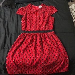 Red dress with black cats